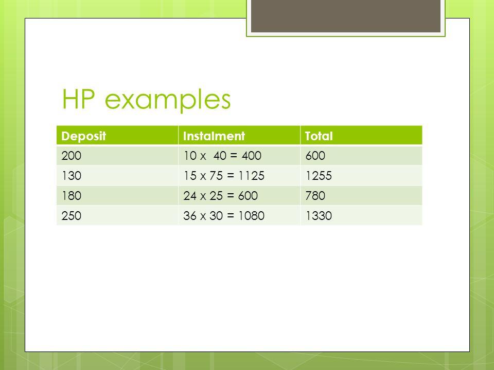 HP examples DepositInstalmentTotal 20010 x 40 = 400600 13015 x 75 = 11251255 18024 x 25 = 600780 25036 x 30 = 10801330