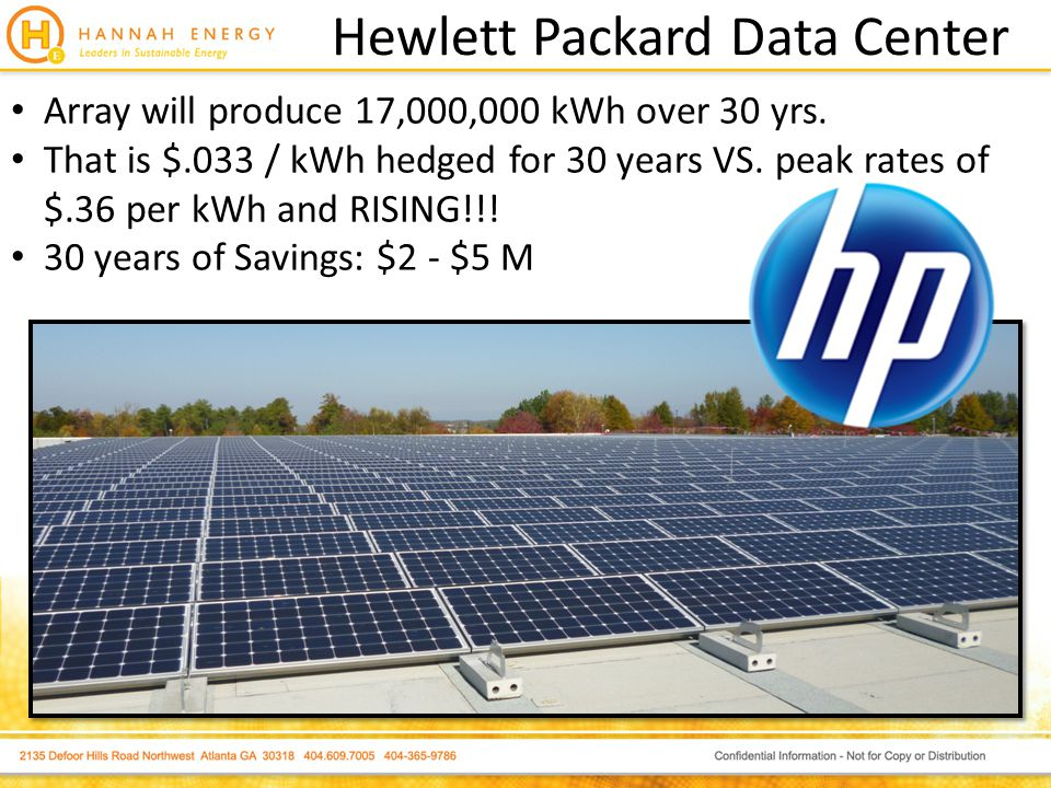 Hewlett Packard Data Center Array will produce 17,000,000 kWh over 30 yrs.