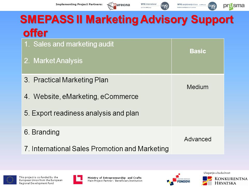 SMEPASS II Marketing Advisory Support offer offer 1.Sales and marketing audit 2.Market Analysis Basic 3.Practical Marketing Plan 4.Website, eMarketing, eCommerce 5.