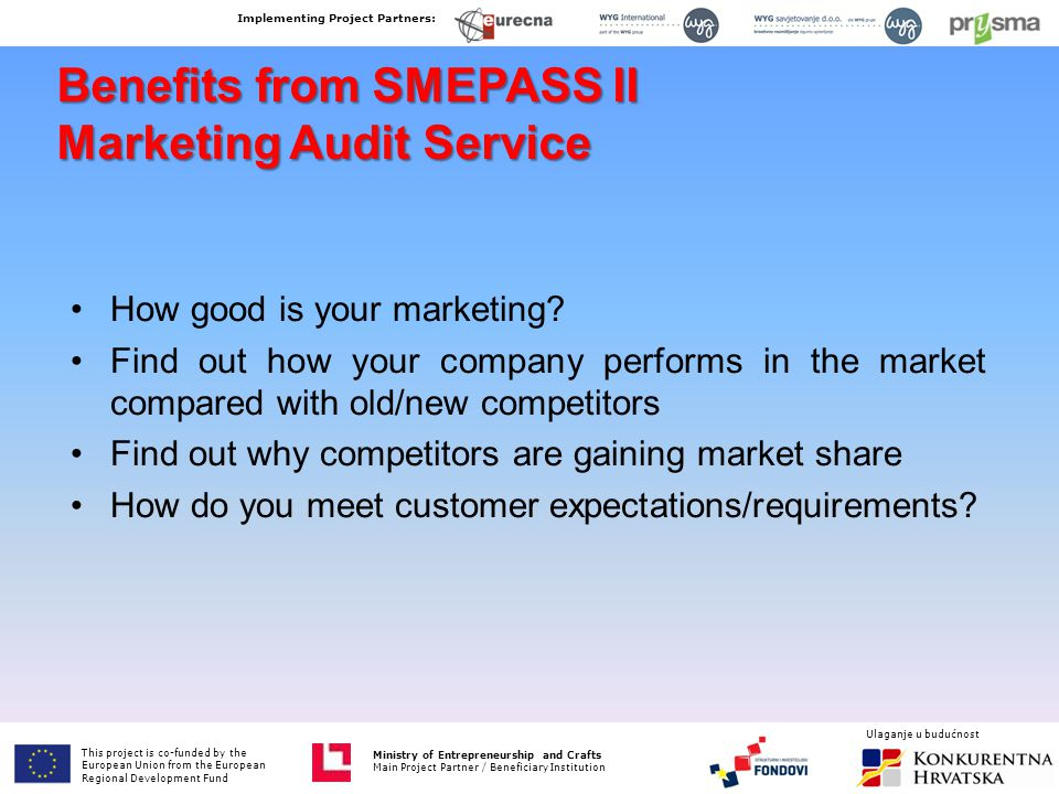 Benefits from SMEPASS II Marketing Audit Service How good is your marketing? Find out how your company performs in the market compared with old/new co