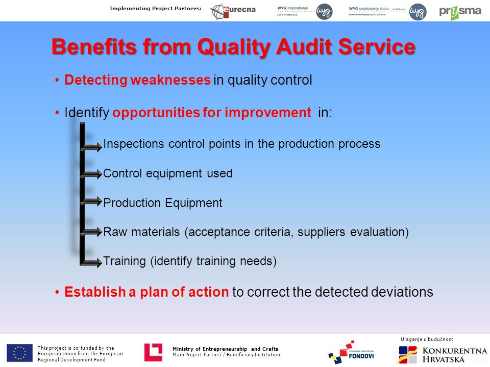 Benefits from Quality Audit Service Detecting weaknesses in quality control Identify opportunities for improvement in: Establish a plan of action to c