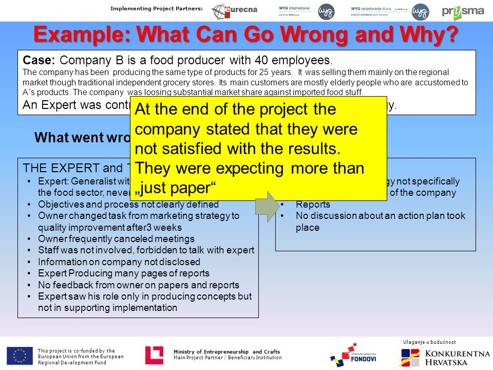 Example: What Can Go Wrong and Why? Case: Company B is a food producer with 40 employees. The company has been producing the same type of products for