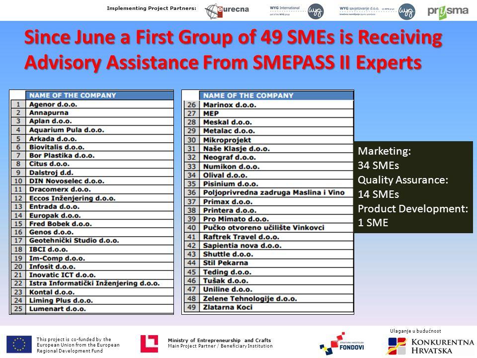 SMEPASS II Marketing Advisory Support offer offer 1.Sales and marketing audit 2.Market Analysis Basic 3.Practical Marketing Plan 4.Website, eMarketing, eCommerce 5.
