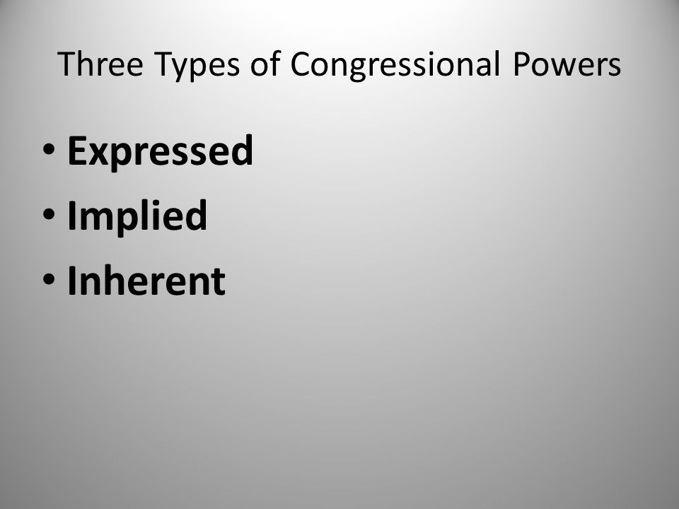 Three Types of Congressional Powers Expressed Implied Inherent