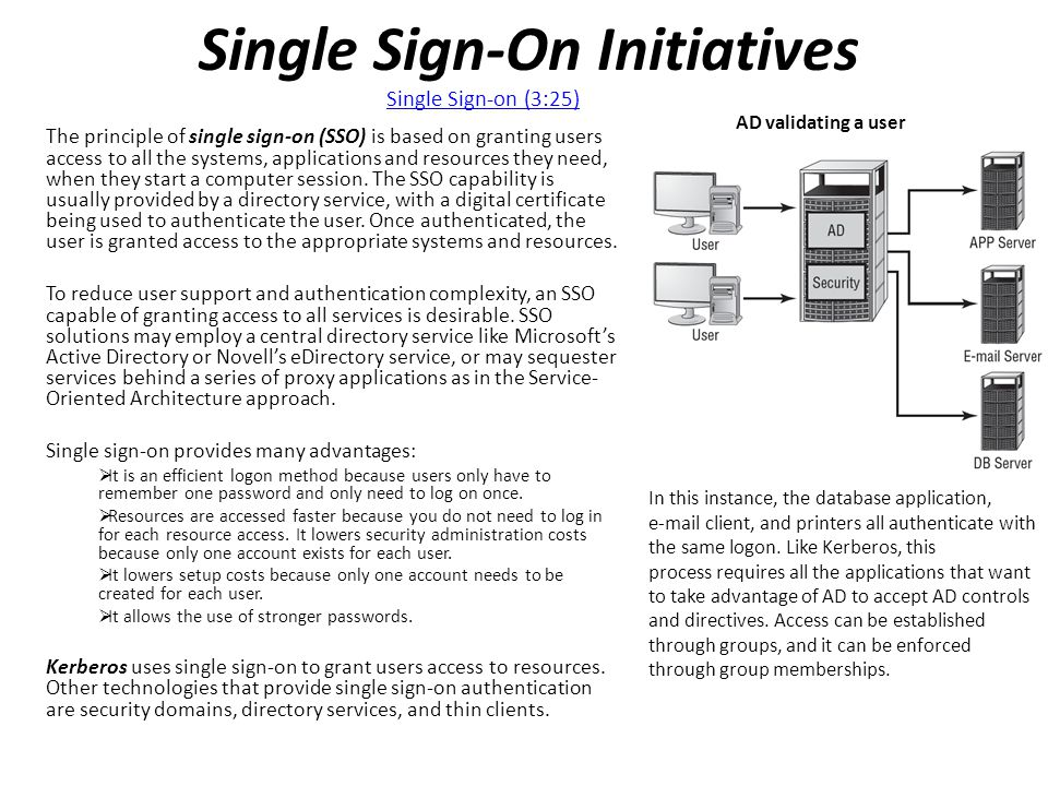 Single Sign-On Initiatives The principle of single sign-on (SSO) is based on granting users access to all the systems, applications and resources they need, when they start a computer session.