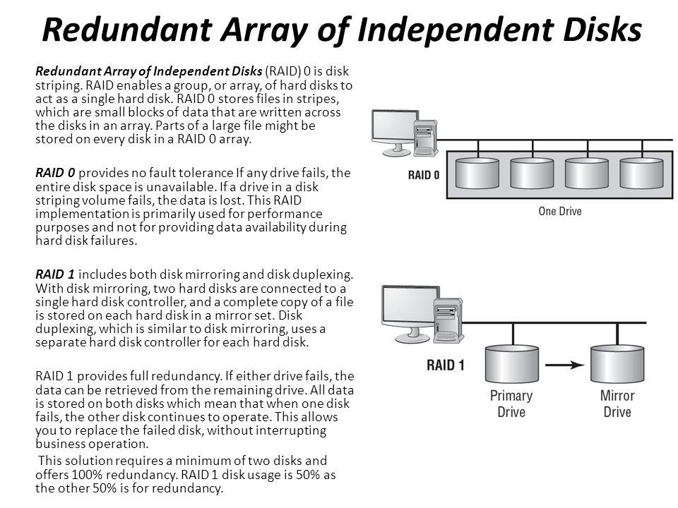 Redundant Array of Independent Disks Redundant Array of Independent Disks (RAID) 0 is disk striping.
