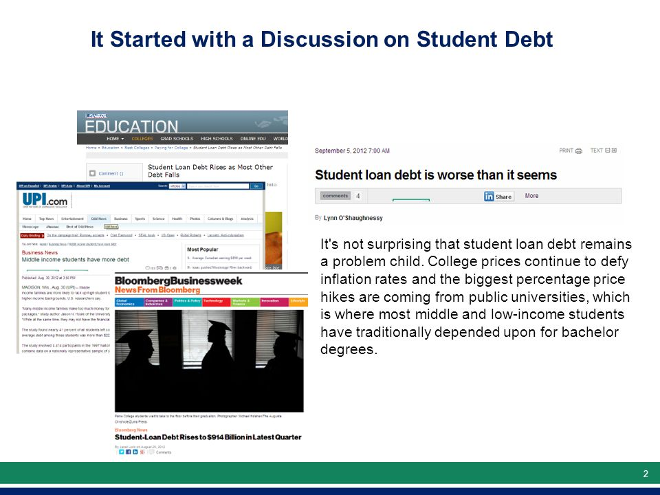 22 It s not surprising that student loan debt remains a problem child.