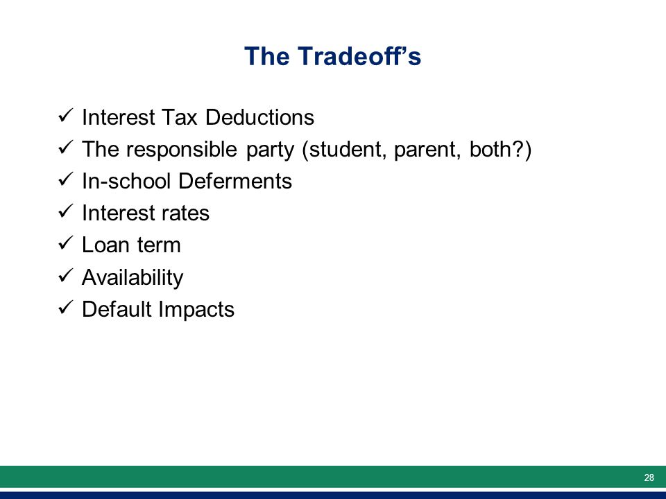 28 The Tradeoff's Interest Tax Deductions The responsible party (student, parent, both ) In-school Deferments Interest rates Loan term Availability Default Impacts