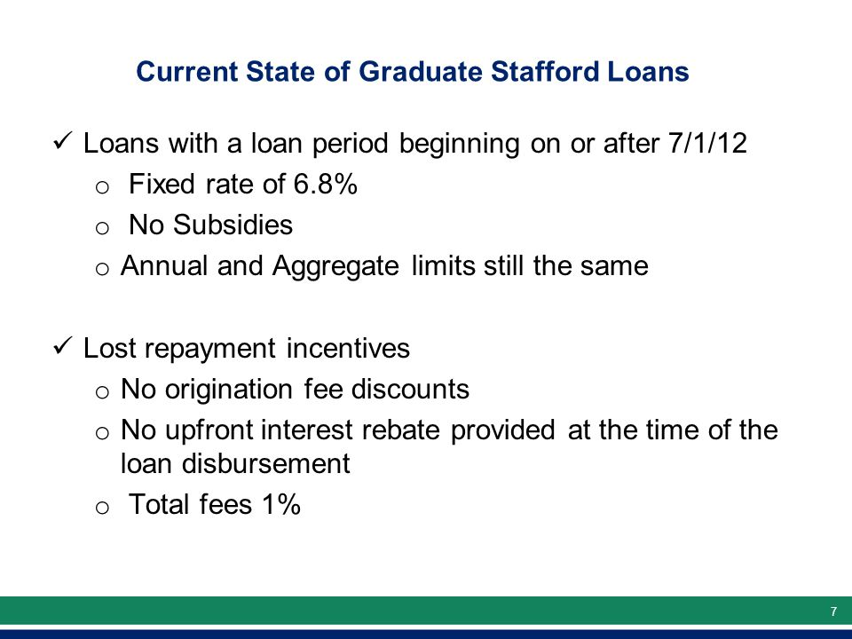 77 Current State of Graduate Stafford Loans Loans with a loan period beginning on or after 7/1/12 o Fixed rate of 6.8% o No Subsidies o Annual and Aggregate limits still the same Lost repayment incentives o No origination fee discounts o No upfront interest rebate provided at the time of the loan disbursement o Total fees 1%