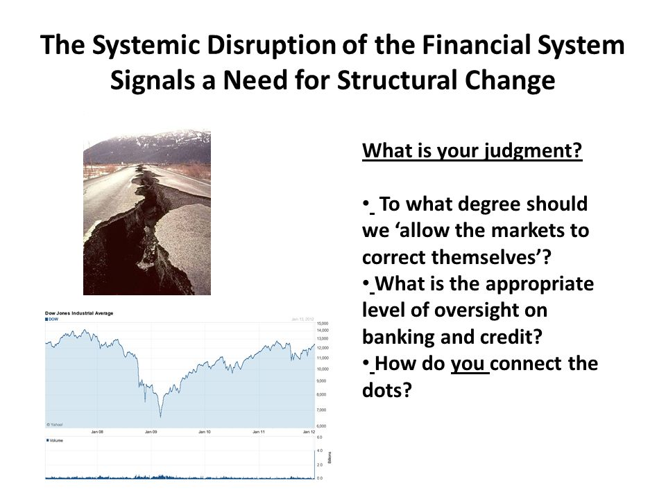 The Systemic Disruption of the Financial System Signals a Need for Structural Change What is your judgment.