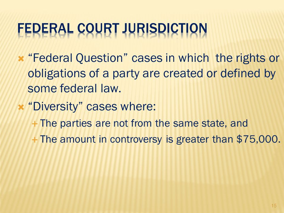 15  Federal Question cases in which the rights or obligations of a party are created or defined by some federal law.