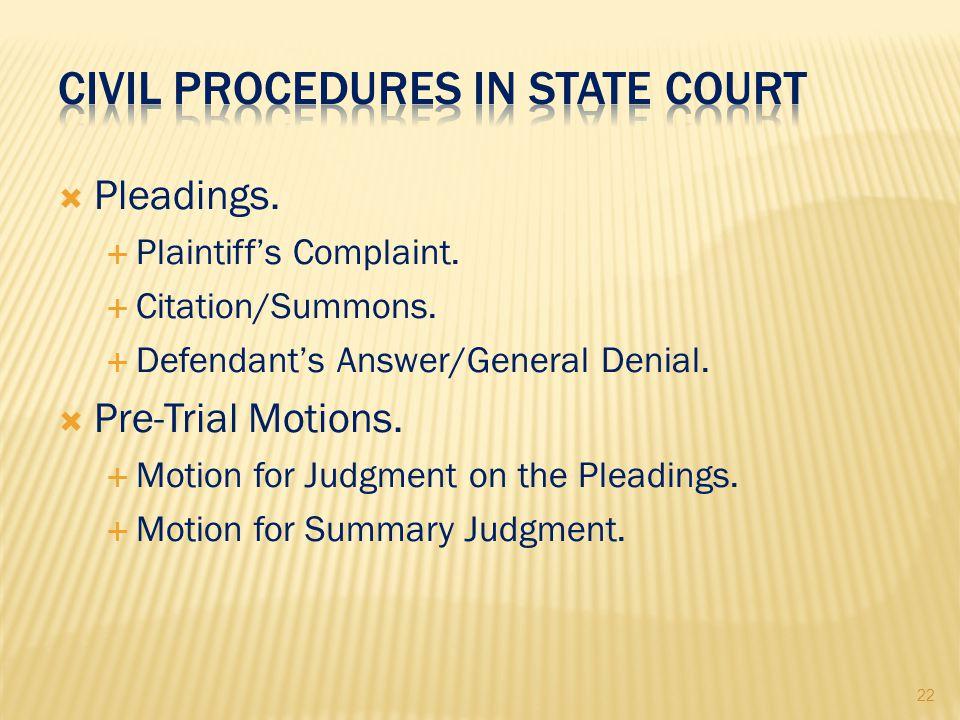 22  Pleadings.  Plaintiff's Complaint.  Citation/Summons.