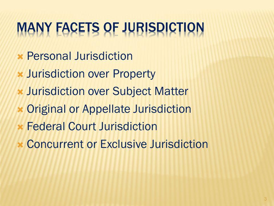 3  Personal Jurisdiction  Jurisdiction over Property  Jurisdiction over Subject Matter  Original or Appellate Jurisdiction  Federal Court Jurisdiction  Concurrent or Exclusive Jurisdiction