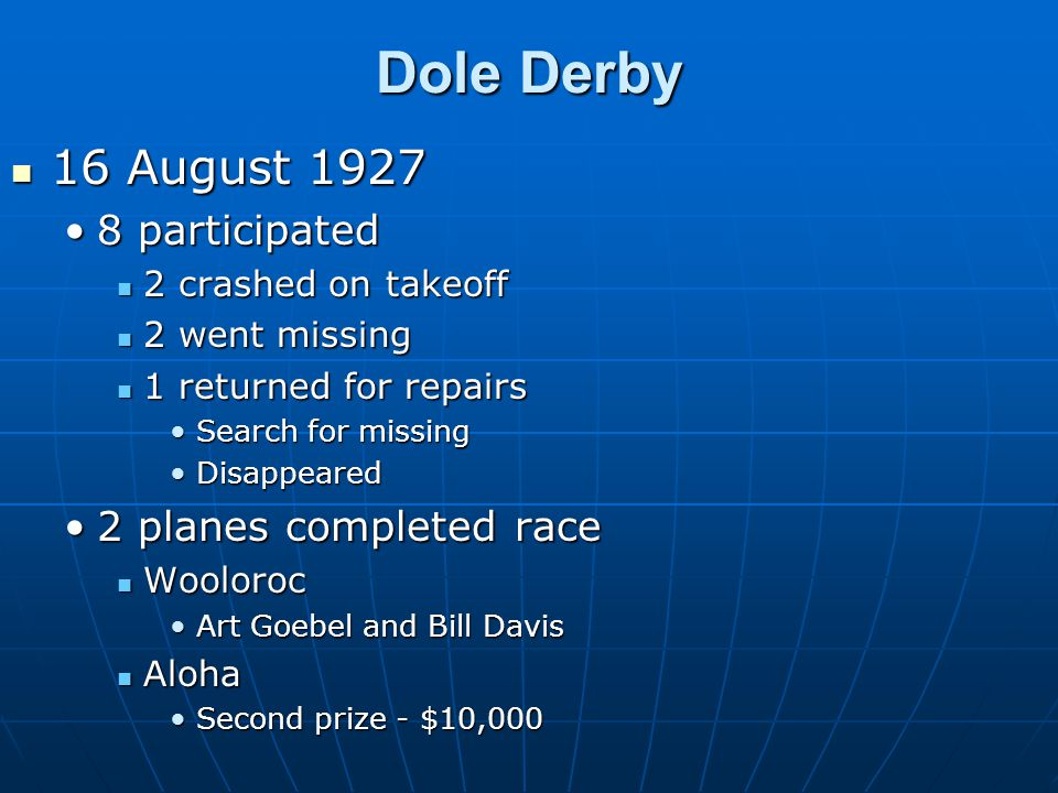 Dole Derby 16 August 1927 16 August 1927 8 participated8 participated 2 crashed on takeoff 2 crashed on takeoff 2 went missing 2 went missing 1 returned for repairs 1 returned for repairs Search for missingSearch for missing DisappearedDisappeared 2 planes completed race2 planes completed race Wooloroc Wooloroc Art Goebel and Bill DavisArt Goebel and Bill Davis Aloha Aloha Second prize - $10,000Second prize - $10,000
