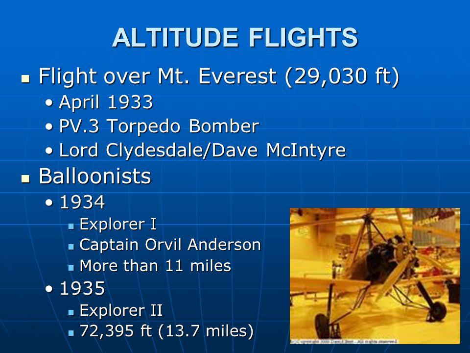 ALTITUDE FLIGHTS Flight over Mt. Everest (29,030 ft) Flight over Mt.