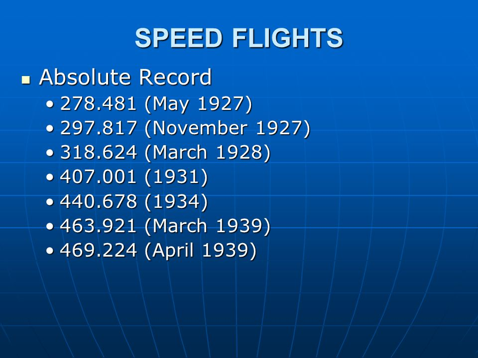 SPEED FLIGHTS Absolute Record Absolute Record 278.481 (May 1927)278.481 (May 1927) 297.817 (November 1927)297.817 (November 1927) 318.624 (March 1928)318.624 (March 1928) 407.001 (1931)407.001 (1931) 440.678 (1934)440.678 (1934) 463.921 (March 1939)463.921 (March 1939) 469.224 (April 1939)469.224 (April 1939)