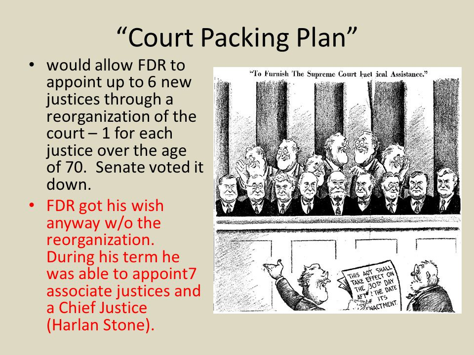 """Court Packing Plan"" would allow FDR to appoint up to 6 new justices through a reorganization of the court – 1 for each justice over the age of 70. Se"