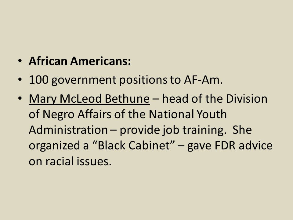 African Americans: 100 government positions to AF-Am.