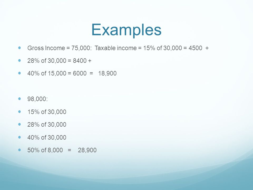 Examples Gross Income = 75,000: Taxable income = 15% of 30,000 = 4500 + 28% of 30,000 = 8400 + 40% of 15,000 = 6000 = 18,900 98,000: 15% of 30,000 28% of 30,000 40% of 30,000 50% of 8,000 = 28,900