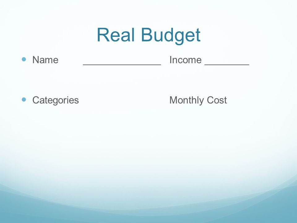 Real Budget Name ______________Income ________ Categories Monthly Cost