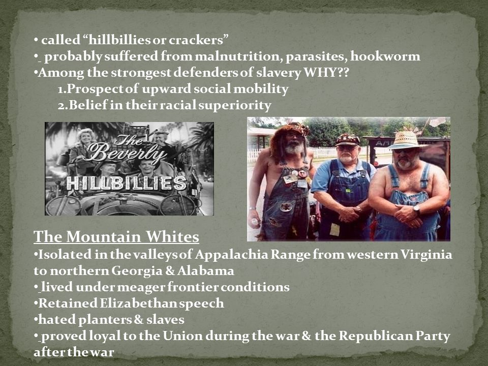 "called ""hillbillies or crackers"" probably suffered from malnutrition, parasites, hookworm Among the strongest defenders of slavery WHY?? 1.Prospect of"