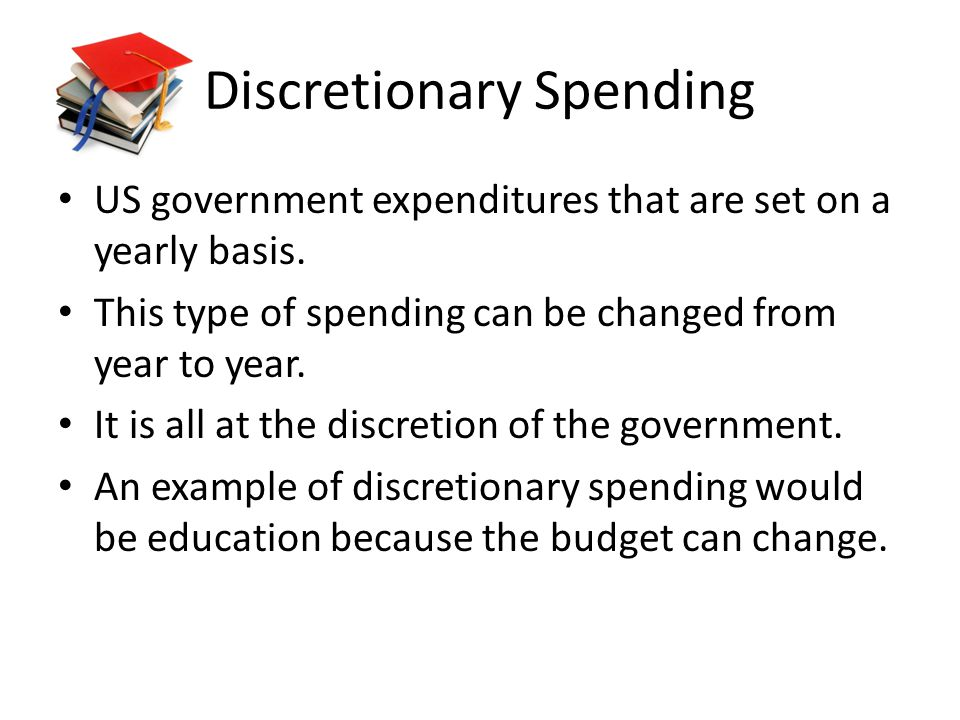 Discretionary Spending US government expenditures that are set on a yearly basis.