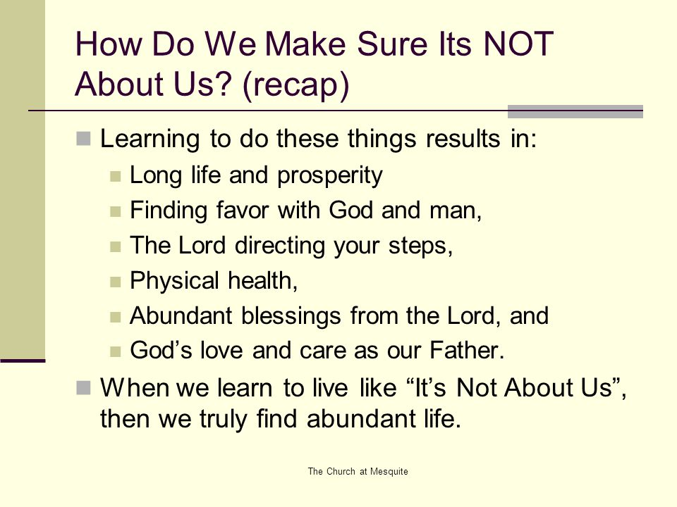 How Do We Make Sure Its NOT About Us.