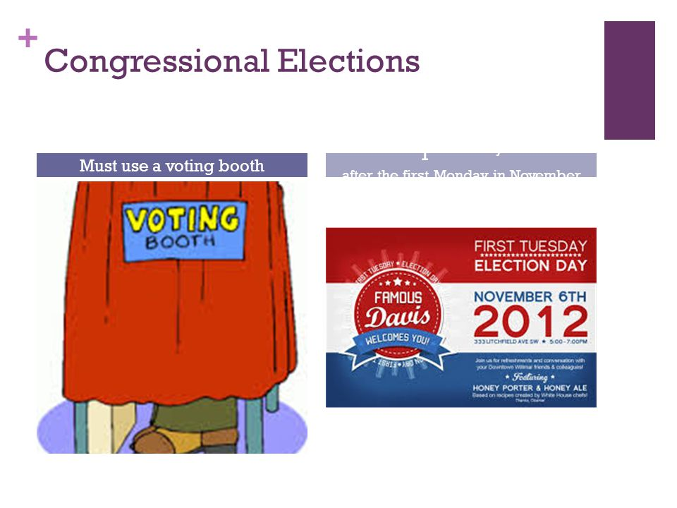 + Congressional Elections Must use a voting booth 1 st Tuesday after the first Monday in November