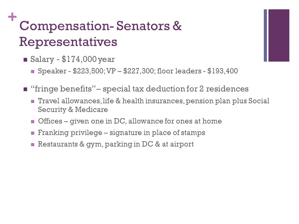 + Compensation- Senators & Representatives Salary - $174,000 year Speaker - $223,500; VP – $227,300; floor leaders - $193,400 fringe benefits – special tax deduction for 2 residences Travel allowances, life & health insurances, pension plan plus Social Security & Medicare Offices – given one in DC, allowance for ones at home Franking privilege – signature in place of stamps Restaurants & gym, parking in DC & at airport
