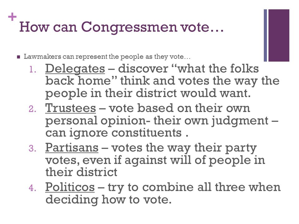 + How can Congressmen vote… Lawmakers can represent the people as they vote… 1.