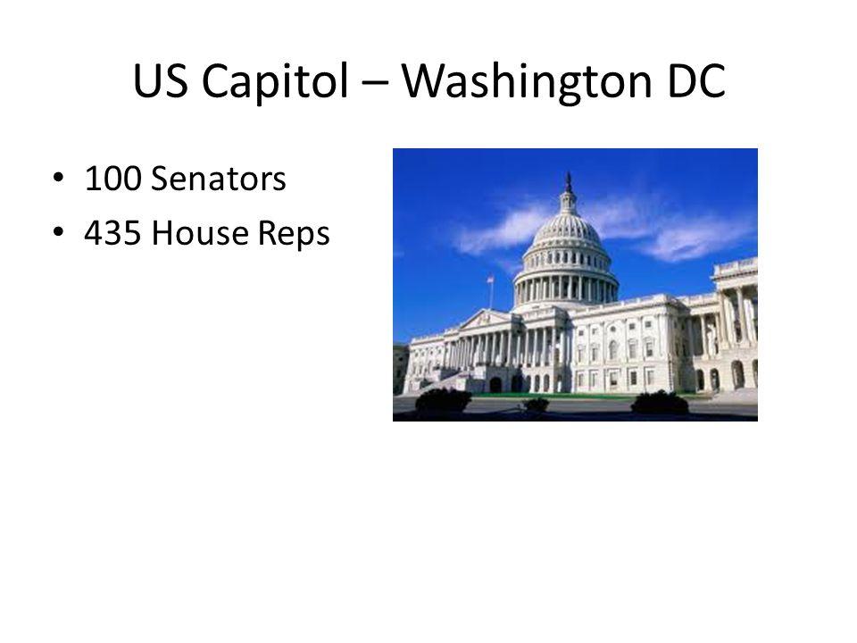 US Capitol – Washington DC 100 Senators 435 House Reps