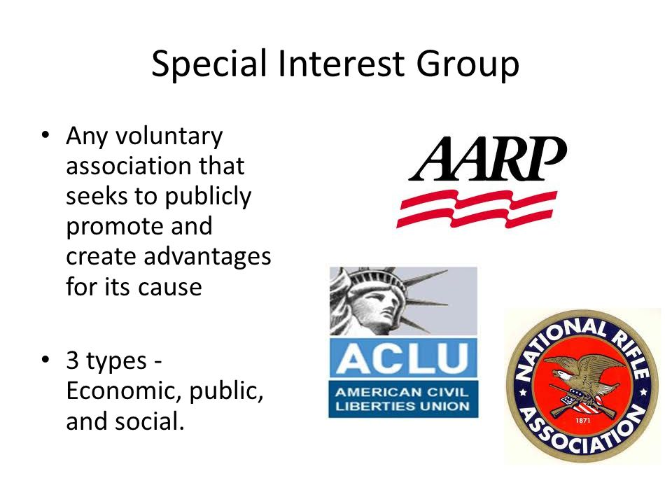 Special Interest Group Any voluntary association that seeks to publicly promote and create advantages for its cause 3 types - Economic, public, and social.