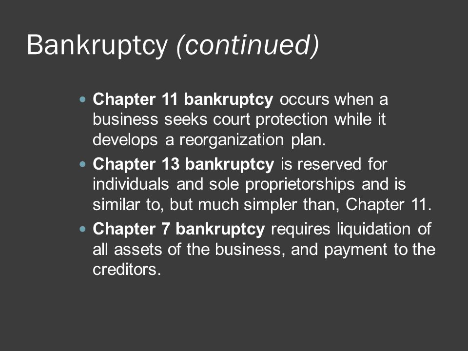 Bankruptcy (continued) Chapter 11 bankruptcy occurs when a business seeks court protection while it develops a reorganization plan. Chapter 13 bankrup