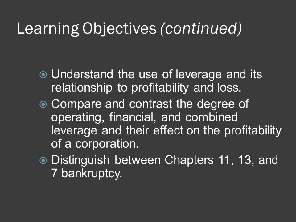 Learning Objectives (continued)  Understand the use of leverage and its relationship to profitability and loss.  Compare and contrast the degree of