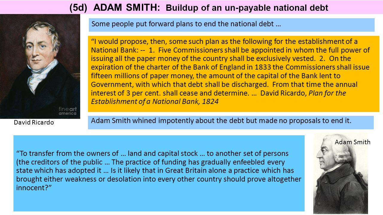 "(5d) ADAM SMITH: Buildup of an un-payable national debt Some people put forward plans to end the national debt … ""I would propose, then, some such pla"