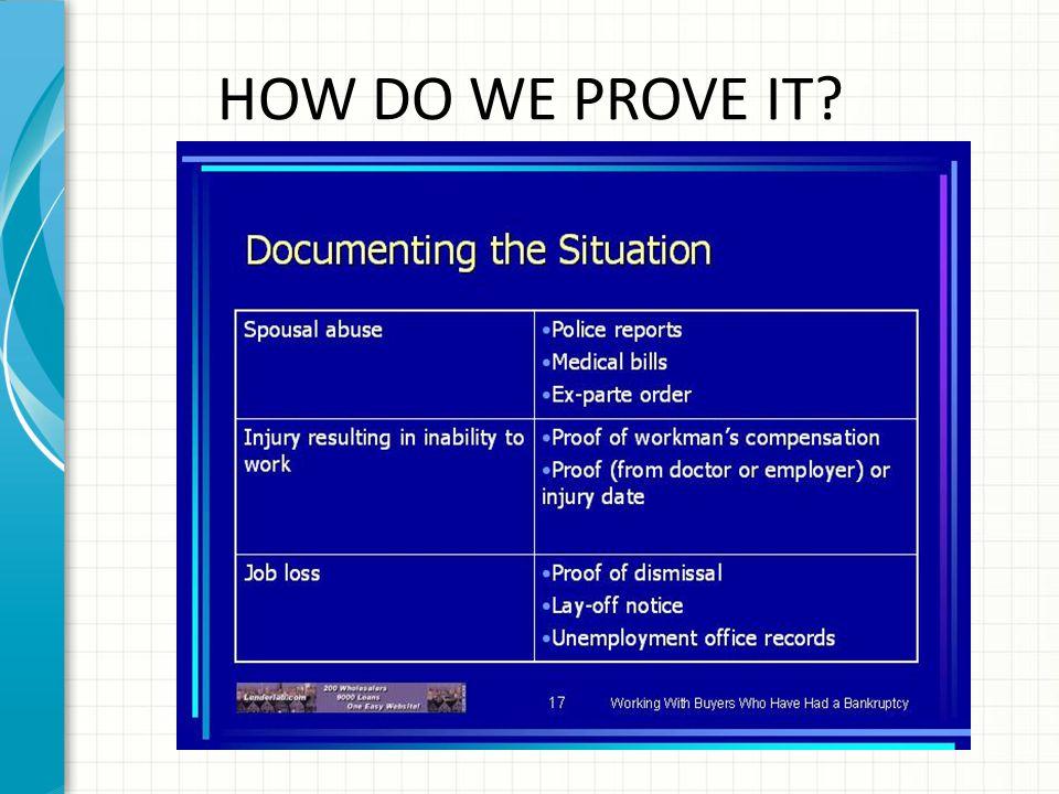 HOW DO WE PROVE IT?