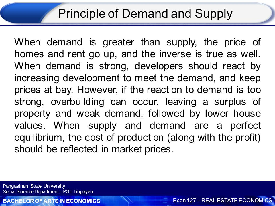 BACHELOR OF ARTS IN ECONOMICS Econ 127 – REAL ESTATE ECONOMICS Pangasinan State University Social Science Department – PSU Lingayen A real estate or property cycle can be seen as a logical sequence of recurrent events reflected in demographic and economic factors that affect supply and demand for property subsequently influencing the property market.