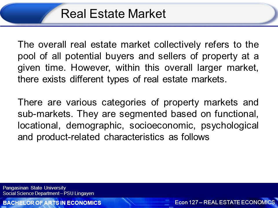 BACHELOR OF ARTS IN ECONOMICS Econ 127 – REAL ESTATE ECONOMICS Pangasinan State University Social Science Department – PSU Lingayen Market Structure For a market to be competitive, there must be more than a single buyer or seller.