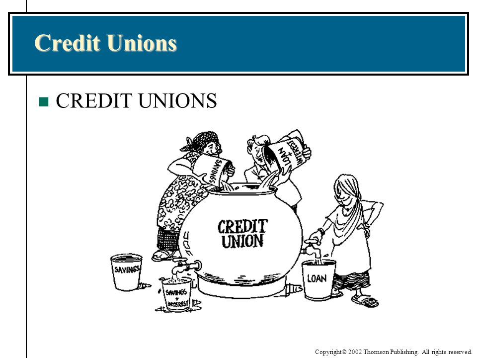 Copyright© 2002 Thomson Publishing. All rights reserved. Credit Unions n CREDIT UNIONS