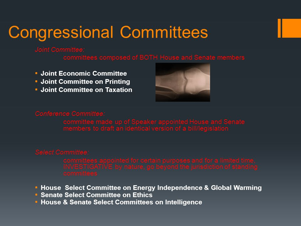 Congressional Committees Joint Committee: committees composed of BOTH House and Senate members  Joint Economic Committee  Joint Committee on Printin