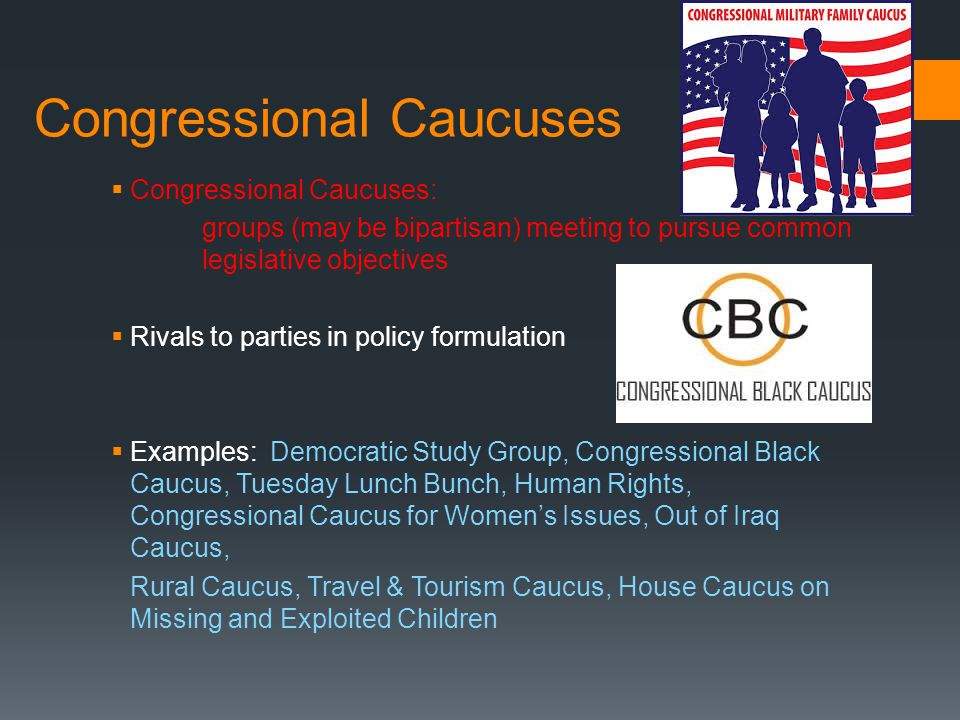 Congressional Caucuses  Congressional Caucuses: groups (may be bipartisan) meeting to pursue common legislative objectives  Rivals to parties in pol