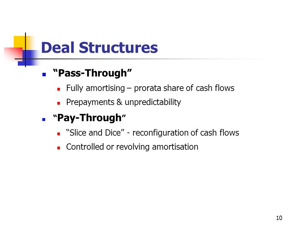10 Deal Structures Pass-Through Fully amortising – prorata share of cash flows Prepayments & unpredictability Pay-Through Slice and Dice - reconfiguration of cash flows Controlled or revolving amortisation