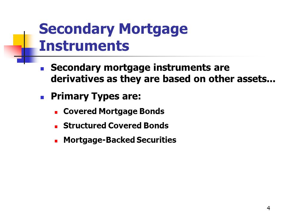 4 Secondary Mortgage Instruments Secondary mortgage instruments are derivatives as they are based on other assets...