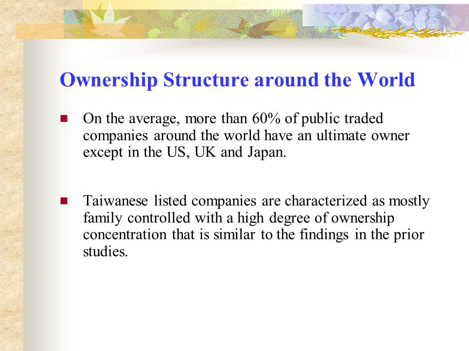 Ownership Structure around the World On the average, more than 60% of public traded companies around the world have an ultimate owner except in the US