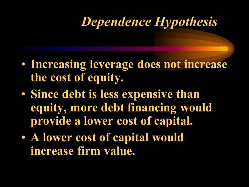 Dependence Hypothesis Increasing leverage does not increase the cost of equity.