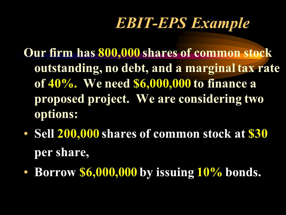 EBIT-EPS Example Our firm has 800,000 shares of common stock outstanding, no debt, and a marginal tax rate of 40%.