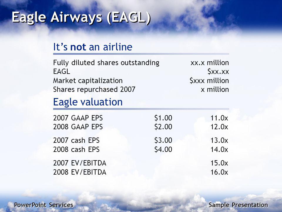 PowerPoint Services Sample Presentation 2 PowerPoint Services Sample Presentation PowerPoint Services Sample Presentation Eagle Airways (EAGL) It's not an airline 2007 GAAP EPS$1.0011.0x 2008 GAAP EPS$2.0012.0x 2007 cash EPS$3.0013.0x 2008 cash EPS$4.0014.0x 2007 EV/EBITDA15.0x 2008 EV/EBITDA16.0x Fully diluted shares outstandingxx.x million EAGL$xx.xx Market capitalization$xxx million Shares repurchased 2007x million Eagle valuation