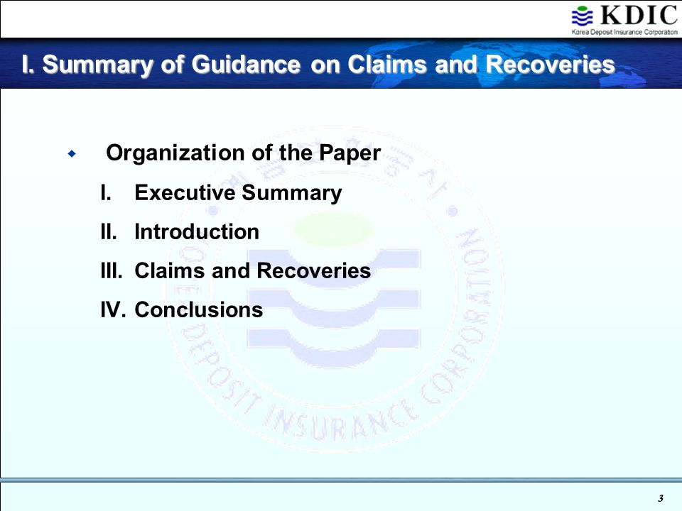 3 I.Summary of Guidance on Claims and Recoveries I.