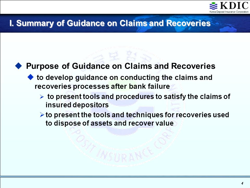 3 I. Summary of Guidance on Claims and Recoveries I.