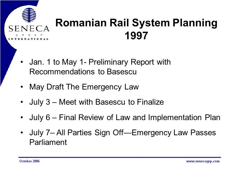Romanian Rail System Planning 1997 Jan.
